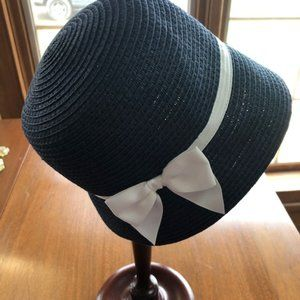 Janie and Jack Navy Hat with White Ribbon 4-5
